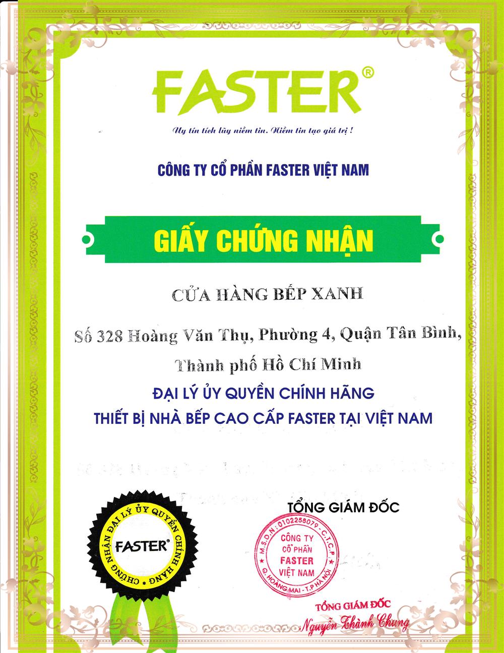 Chứng nhận phân phối Faster