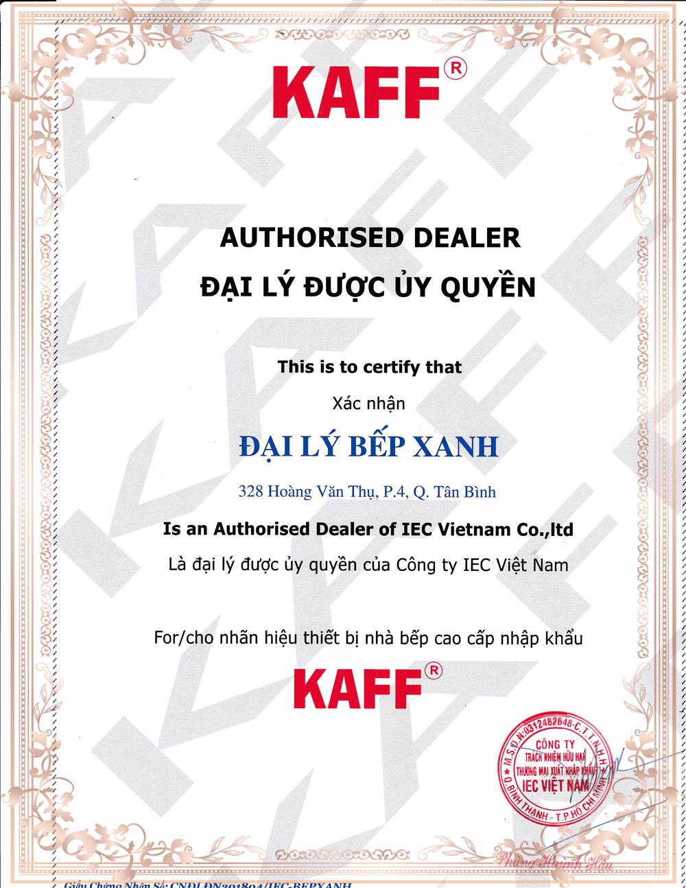 chứng nhận phân phối Kaff