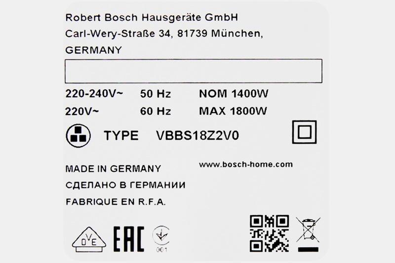 Công suất 1800 W mang đến lực hút mạnh mẽ, hút sạch mọi chất bẩn - Máy hút bụi Bosch HMH.BGN21800 1800W
